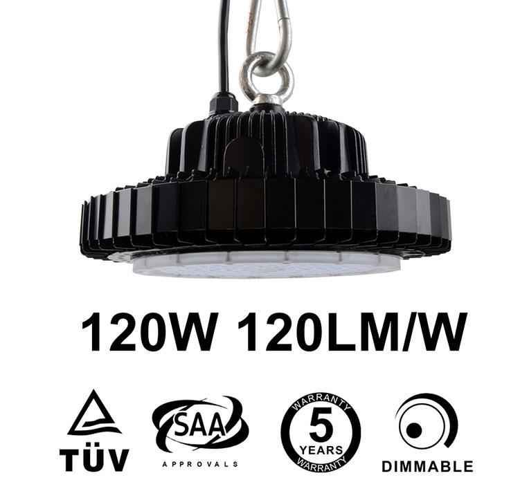 120W UFO LED High Bay 14,400 Lumen 300W HID Equivalent TUV SAA C-tick listed