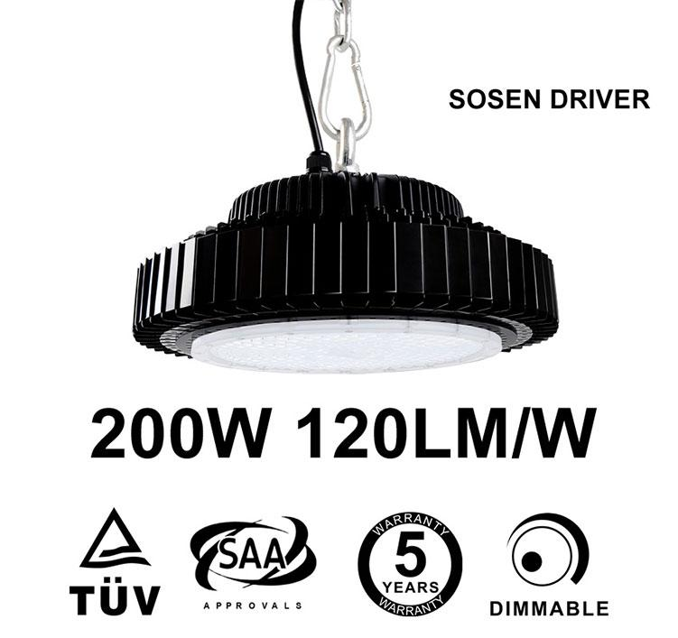200W UFO LED High Bay UL TUV Sosen Driver,000 Lumen 500W HID Equivalent TUV SAA C-tick listed