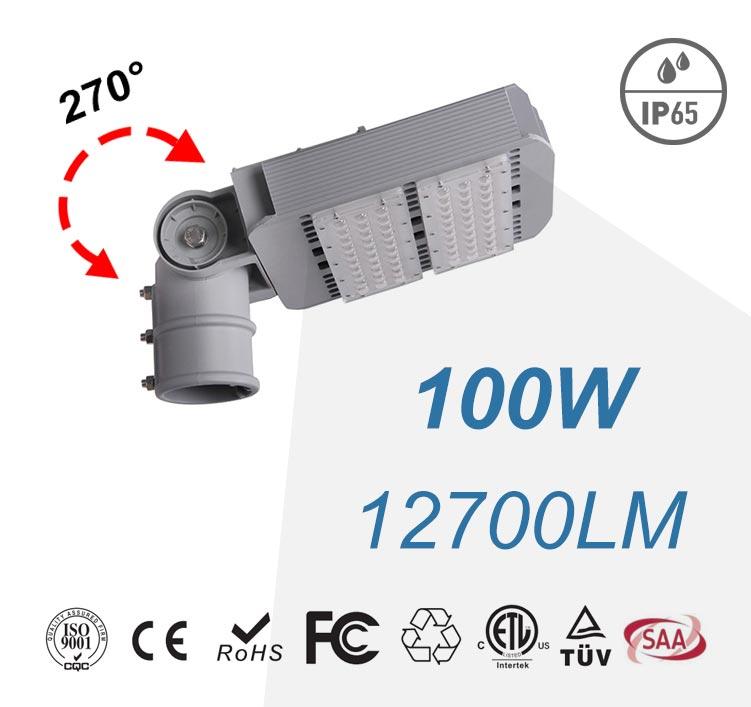100W Arm Rotatable LED Street Lights 12700LM SMD 3030 180-277VAC Road Lighting