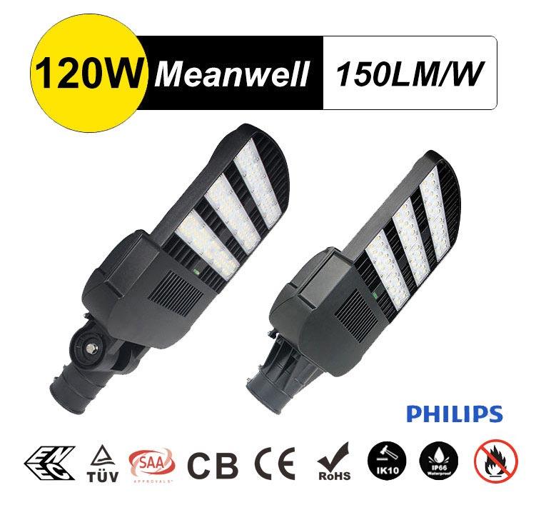 Best LED Street/Area Light 120w Rotatable Philips Chip Street Lighting, Equivalent 400W HPS,MH,HQI