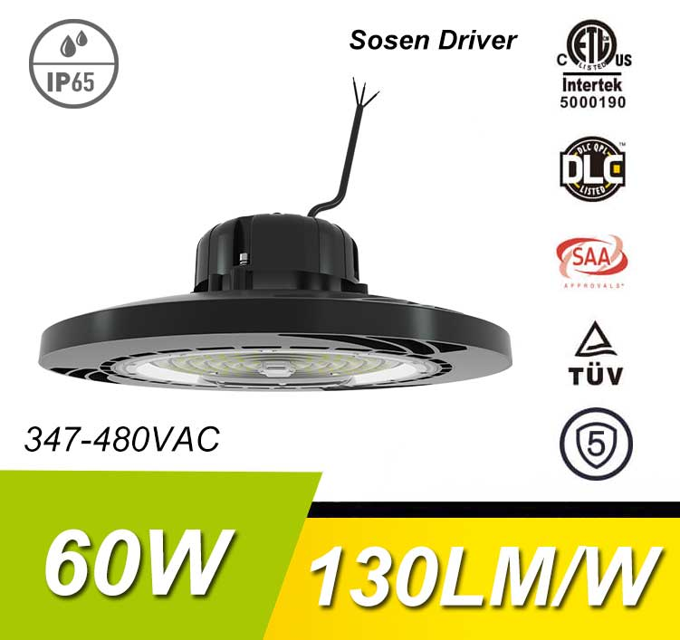 60W 130Lm/W 7800Lm Sosen Hurricane UFO High Bay Light Fixtures