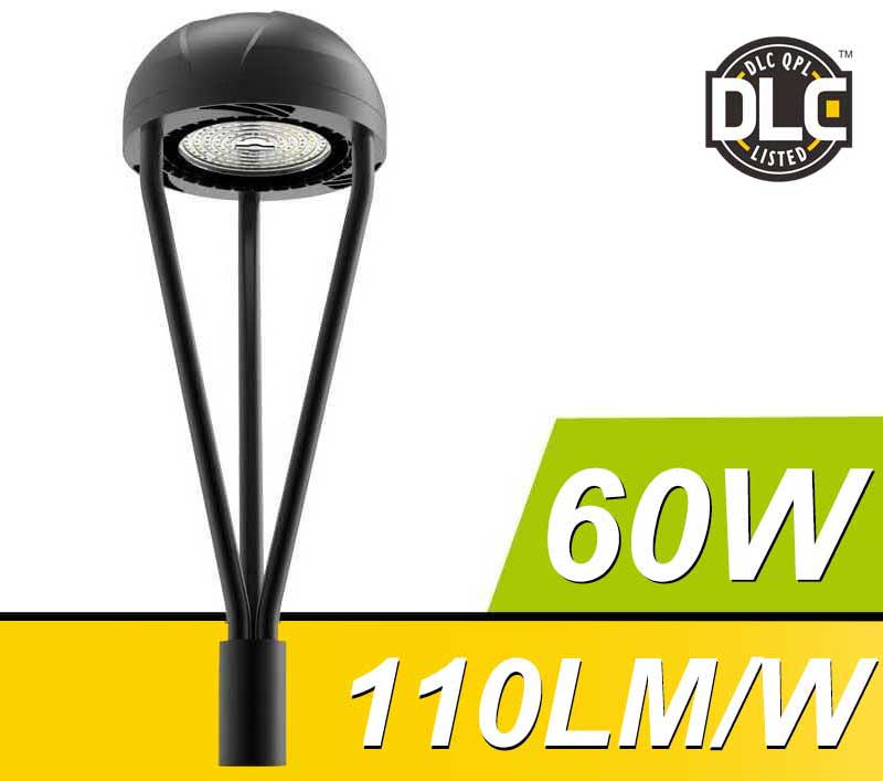 60W DLC IECEE LED Post Top Light Fixture 6600Lm outdoor Park Pathway Pole Garden landscape Lights