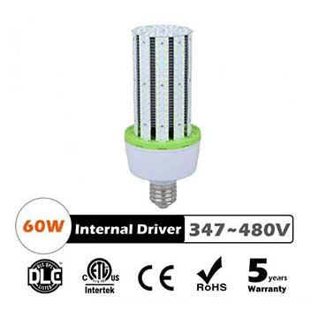 60W LED Corn Bulbs AC 347V 480V 7700Lm 130Lm/W Equal 225W HID