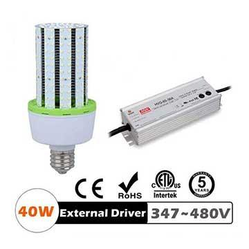 40W LED Corn Bulbs 5200Lm Equal 150W HID External driver AC 347V 480V