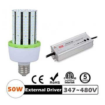 50W LED Corn Bulbs 6250Lm Equal 225W HID External driver AC 347V~480V