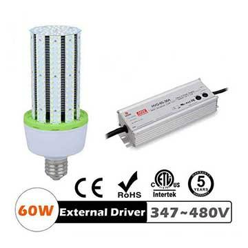 60W LED Corn Bulbs 7800Lm Equal 250W HID External driver AC 347V~480V