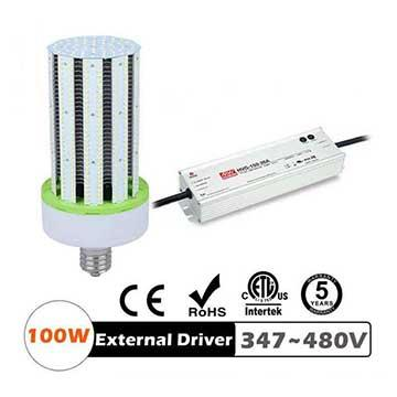 100W LED Corn Bulbs 13000Lm Equal 400W HID External driver AC 347V~480V