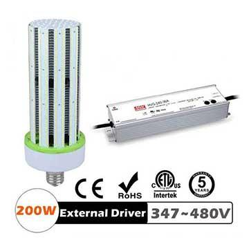 200W LED Corn Bulbs 24000Lm Equal 750W HID External driver AC 347V~480V