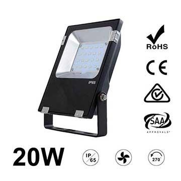 20W LED Flood Light Fixtures 2600Lm Waterproof CE RoHS SAA Ctick