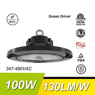 100W 130Lm/W 13000Lm Sosen Hurricane UFO High Bay Light Fixtures