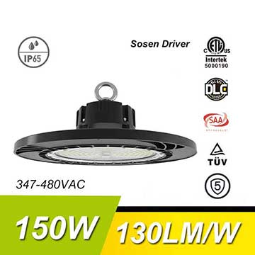 150W 130Lm/W 19500Lm Sosen Hurricane UFO High Bay Light Fixtures
