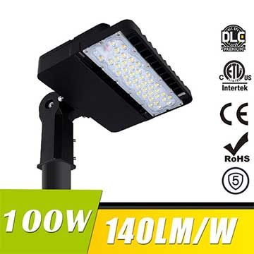 100W LED Shoebox Area Light Fixtures 140Lm/W 14000Lm