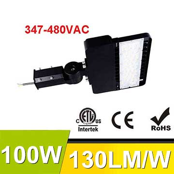 100W 347-480V LED Shoebox Area Light Fixtures 130Lm/W 13000Lm