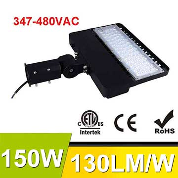 150W 347-480V LED Shoebox Area Light Fixtures 130Lm/W 19500Lm