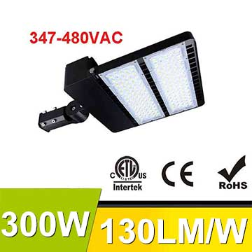 300W 347-480V LED Shoebox Area Light Fixtures 130Lm/W 39000Lm