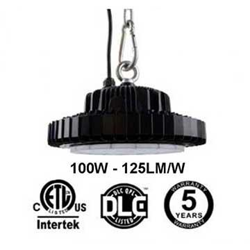 100W UFO LED High Bay Light 125Lm/W 12500 Lumen ETL cETL DLC listed
