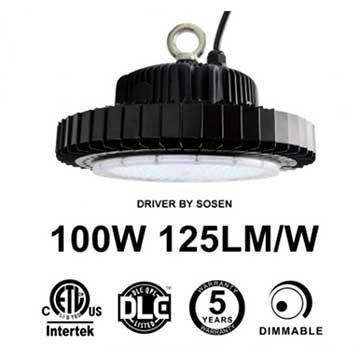 100W UFO LED High Bay Light 125Lm/W Sosen Driver ETL cETL DLC listed