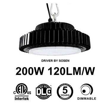 200W UFO LED High Bay Light 120Lm/W Driver Sosen ETL cETL DLC listed
