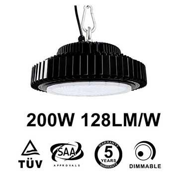 200W UFO LED High Bay 25,600 Lumen 500W HID Equivalent TUV SAA C-tick listed