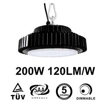 200W UFO LED High Bay 24,000 Lumen 500W HID Equivalent TUV SAA C-tick listed