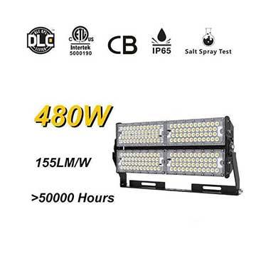 480W High Lumens LED High Pole Lights Rotatable Module,155Lm/W,74400 Lumen, Waterproof IP65, High Mast Stadium Flood Lighting