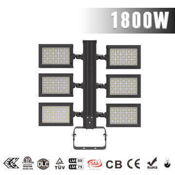 1800W Football Field LED Flood Lighting - Best High Power Sport Stadium Light fixtures - Equivalent to 3500-4000W HPS MH