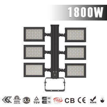 1800W Football Field LED Flood Lighting - Best High Power Sport Stadium Light fixtures - Equivalent to 3500-4000W HPS MH