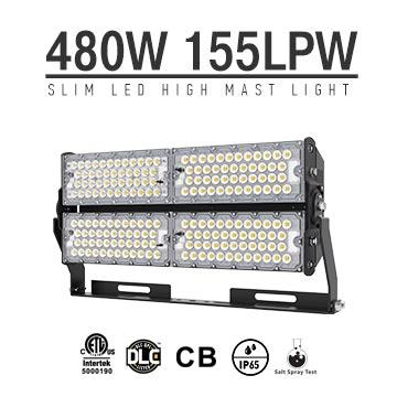 480W High Lumens LED High Pole Lights Rotatable Module,155Lm/W,74400 Lumen, Waterproof IP65, High Mast Stadium Flood Lighting