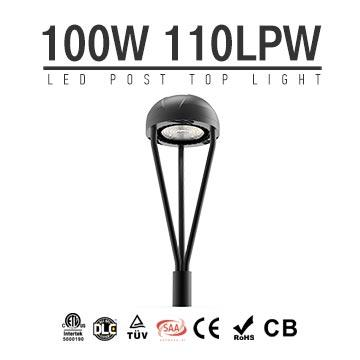 100W DLC CE RoHS LED Post Top Light Equal 250 HPS, Landscape Park lighting