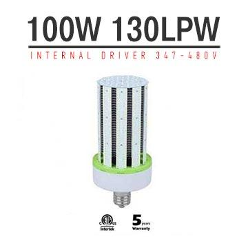 100W LED Corn Bulbs AC 347V 480V 13000Lm 130Lm/W Equal 400W HID