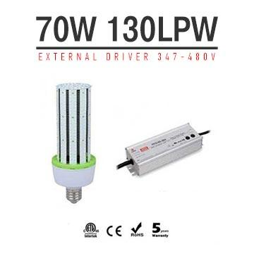 70W LED Corn Bulbs 9100Lm Equal 275W HID External driver AC 347V~480V