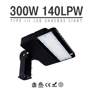 300W LED Shoebox Area Light Fixtures DLC Premium 140Lm/W 42000Lm