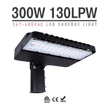 300W 347-480V LED Shoebox Area Light Fixtures 130Lm/W 39000Lm
