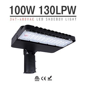 100W 347-480V LED Shoebox Area Light Fixtures 130Lm/W 13000Lm