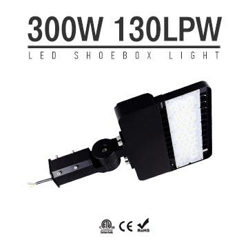 300W LED Shoebox Area Light Fixtures 130Lm/W 39000Lm