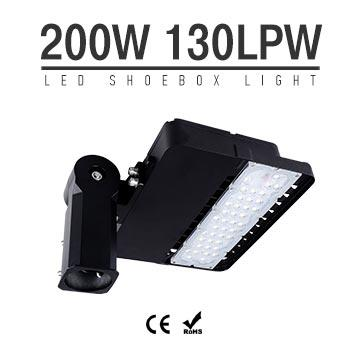 200W CE RoHS LED Shoebox Area Light Fixtures 130Lm/W 26,000Lm