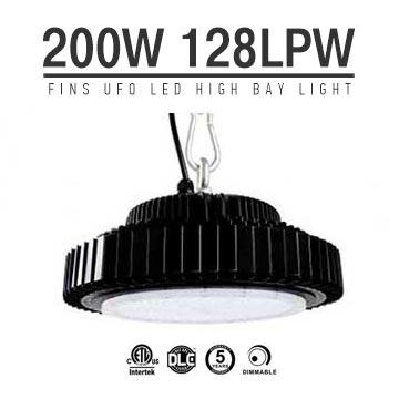 200W UFO LED High Bay Light 128Lm/W 25600 Lumen ETL cETL DLC listed