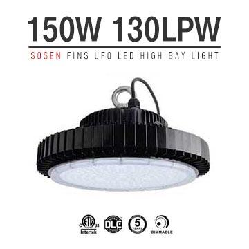 150W UFO LED High Bay Light 130Lm/W Driver Sosen ETL cETL DLC listed