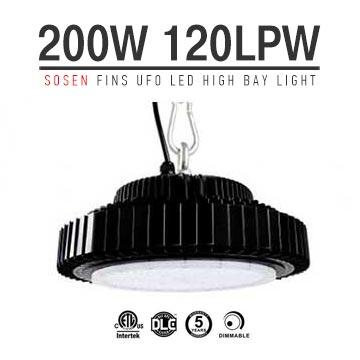 200W UFO LED High Bay UL TUV Sosen Driver 24,000 Lumen 500W HID Equivalent TUV SAA C-tick listed