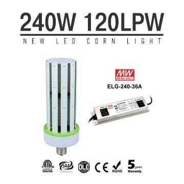 240W LED Corn Bulbs External driver ELG-240-36A 28800Lm Equal 1000W HID
