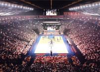 Which lighting fixture should be used in a large basketball stadium?