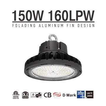 150w Slim Lightweight Folding Fins heatsink DLC Premium UFO LED High Bay Light - 24000 Lumens