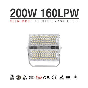 200W Slim Pro LED Stadium Sports area High Mast Lights - 32000LM Outdoor Floodlight
