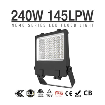 240W Pole Mounted LED Flood Light, 145Lm/w DLC adjustable IP66 LED Pole Flood Light Heads