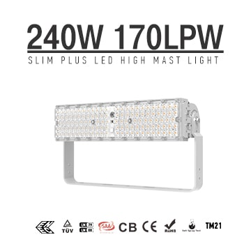 Slim Plus 240W&300W LED High Pole Light, 40800Lumens, High Efficiency 170Lm/W LED Flood High Mast Sport Stadium Lighting