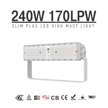 Slim Plus 240W&300W LED High Pole Light, 40800Lumens, High Efficiency 170Lm/W LED Flood High Mast Sport Stadium Lighting