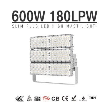 600W 108000Lm 180LM/W Flood Light, High Efficiency LED Large Area Lighting