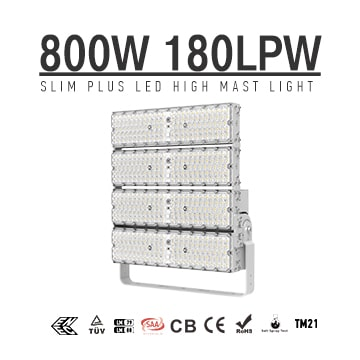 800W 144000 Lumens LED High Pole Flood area lights, 2000W Metal Halide Equal