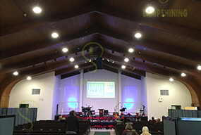 80W LED Corn Bulb installed in High bay fixtures for the USA Church