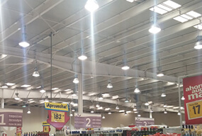 E40 80W LED Corn Bulbs replaces 180W HPS bulbs in Supermarket;s high bay fixtures